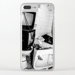 Tv on the Toilet Clear iPhone Case