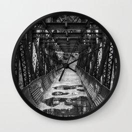 Tumwater Canoyn Pipeline Bridge Black and White Wall Clock