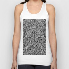 Abstract Lace on Black Unisex Tank Top