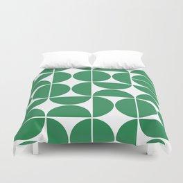 Mid Century Modern Geometric 04 Green Duvet Cover