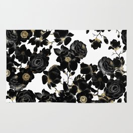 Modern Elegant Black White and Gold Floral Pattern Rug