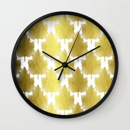Golden Maple Leaves Wall Clock