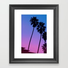 Pink to Blue Fade Palm Trees Framed Art Print