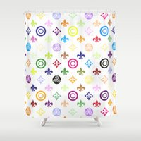 teen wolf Shower Curtains featuring Teen Wolf symbols pattern by Indy