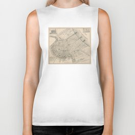 Vintage Map of New Orleans Louisiana (1885) Biker Tank