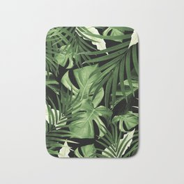 Tropical Jungle Night Leaves Pattern #5 #tropical #decor #art #society6 Bath Mat