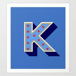 Letter K - retro alphabet Art Print