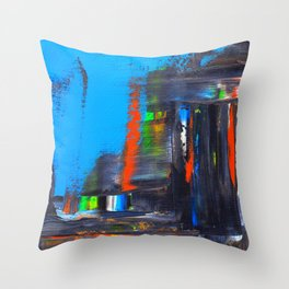 Rushed Cityscape Throw Pillow