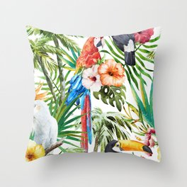 Tropical Bird Pattern 06 Throw Pillow