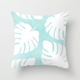 White Monstera Leaves Pattern  |  Mint Background Throw Pillow