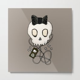 Girly Skull with Black Bow / Die for Music Metal Print