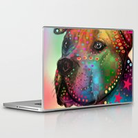 pit bull Laptop & iPad Skins featuring pit bull by mark ashkenazi