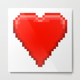 Retro Video Game Heart Pixel Art Metal Print