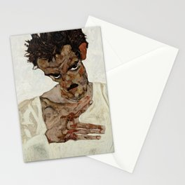 "Egon Schiele ""Self-Portrait with Lowered Head"" Stationery Cards"