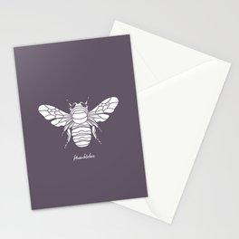 Humblebee White on Purple Background Stationery Cards