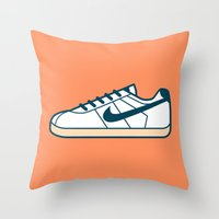 nike Throw Pillows featuring #55 Nike Cortez by Brownjames Prints