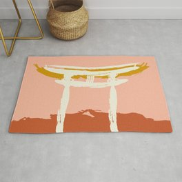 Terracotta Torii Gate of Shinto Shrine Minimalist Rug