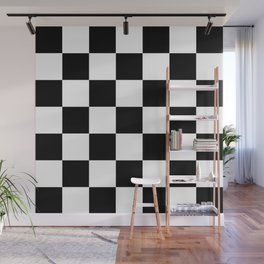 Large Black Checkerboard Pattern Wall Mural