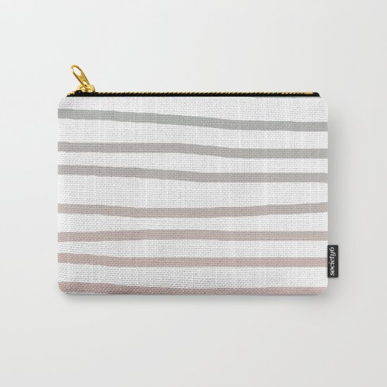 Simply Drawn Stripes in Coral Peach Sea Green Gradient Carry-All Pouch