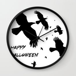Happy Halloween Murder of Crows  Wall Clock