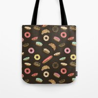 donuts Tote Bags featuring Donuts by Julia Badeeva