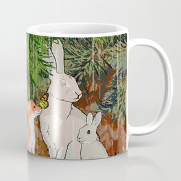 The red fox, the baby fox, the Hare and the baby hare Coffee Mug