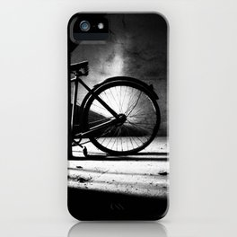 Old bicycle in a dusty attic iPhone Case