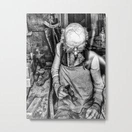 The Cobbler ( Black & White ) Metal Print