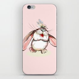 Cute bunny with butterfly. Vector illustration iPhone Skin