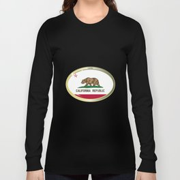 California State Flag Oval Button Long Sleeve T-shirt