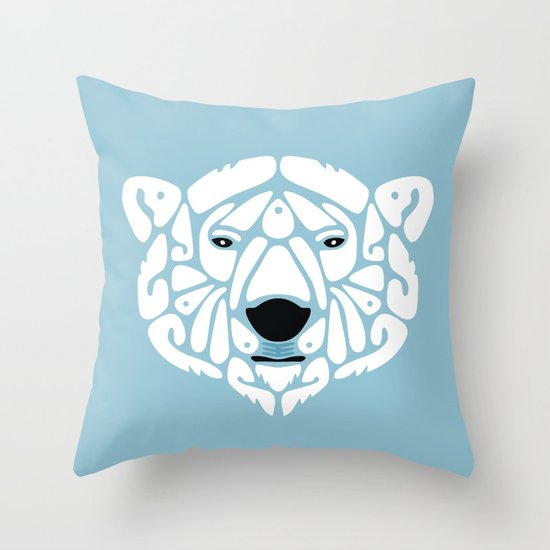 An Béar Bán (The White Bear) Throw Pillow