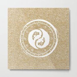 Pisces Yin Yang Fish Twelfth Zodiac Sign Metal Print