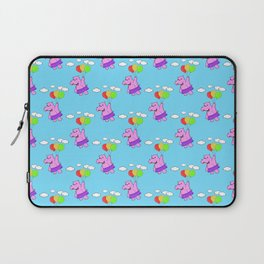 Pink Hippo Flying With Balloons In Blue Sky Laptop Sleeve