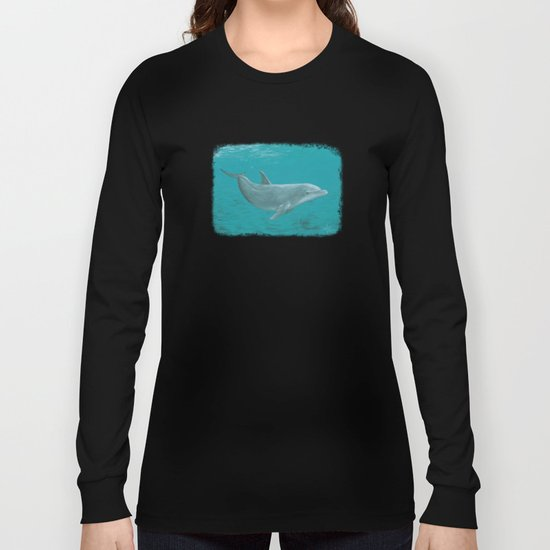 """Shallow Reef"" by Amber Marine ~ Dolphin Art ~ Acrylic Painting, (Copyright 2014) Long Sleeve T-shirt"