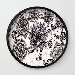 Flower Swirls in Black Wall Clock