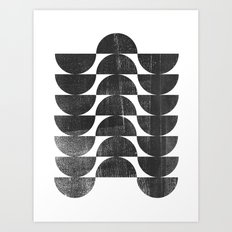 Mid Century Modern Op Art Black and White Pattern Art Print