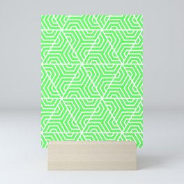 Screamin' Green - green - Geometric Seamless Triangles Pattern Mini Art Print