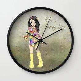 Groovy Hippie Girl Wall Clock