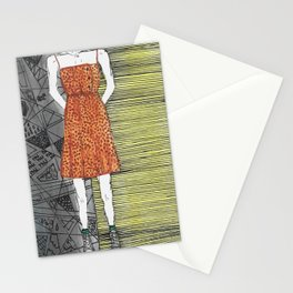 The girl in the dress. Stationery Cards