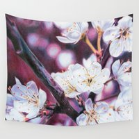 cherry blossoms Wall Tapestries featuring Cherry Blossoms by Svenja Gosen