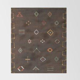 Brown Bohemian Traditional Moroccan Vintage Artwork (N25) Throw Blanket