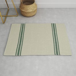 Vintage Country French Grainsack Green Stripes Linen Color Background Rug