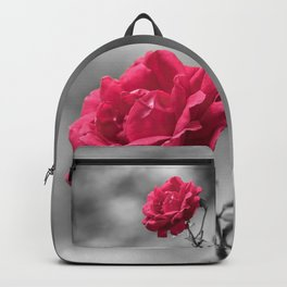 Red rose on monochromatic background Backpack