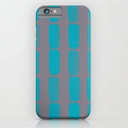Aqua Blue and Gray Grid Brushstroke Pattern 2021 Color of the Year AI Aqua and Good Gray iPhone Case