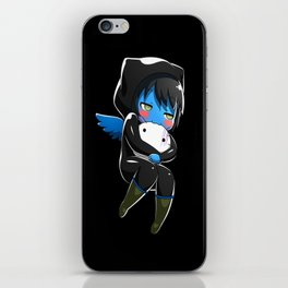 Fuzzy Chibi Luc (Expression 2) w/ Black Background (no cloud) iPhone Skin