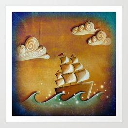 Lullaby Bay - ship at sea Art Print