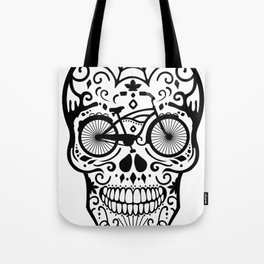 Vintage Mexican Skull with Bicycle - black and white Tote Bag