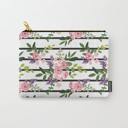 Pink roses bouquets with greenery on the striped background Carry-All Pouch