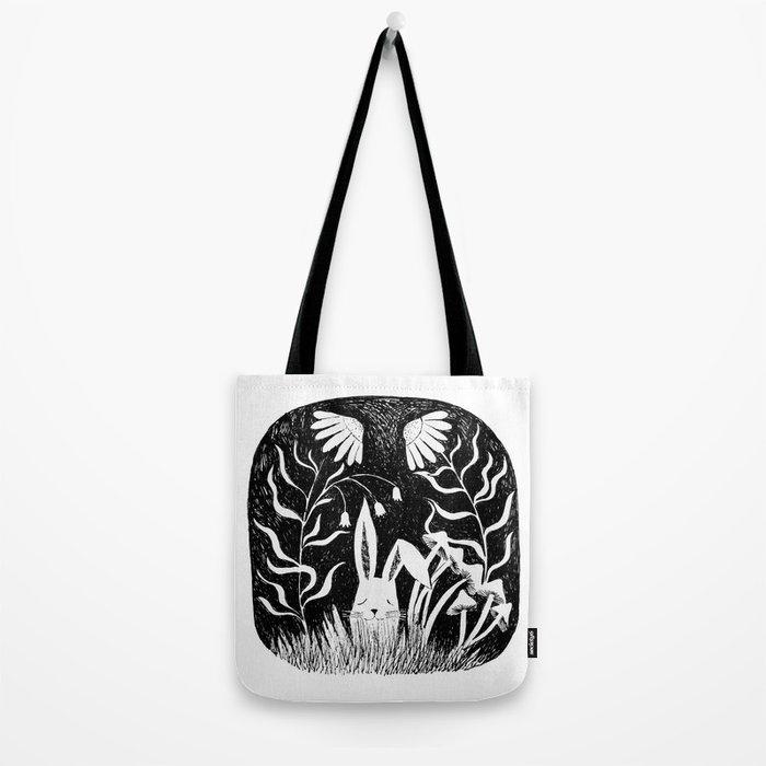 black and white rabbit ink illustration Tote Bag