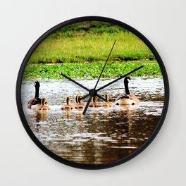 Canada Goose and Goslings II Wall Clock